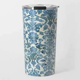 Vintage Antique Blue Wallpaper Pattern Travel Mug