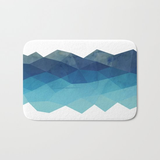 Fractal blue geometry Bath Mat