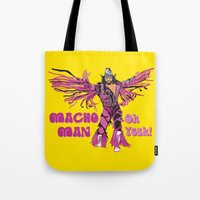 randy c Tote Bags featuring Macho Man Randy Savage by Milos Cakovan
