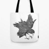 alisa burke Tote Bags featuring Alisa The Bird - Illustration by Carlos Rascón Paper Art & Illustration
