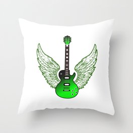 """When """"No Music No Life"""" Tee """" With A Creative Illustration Of An Green Electric Guitar T-shirt Throw Pillow"""