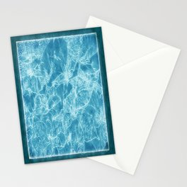 Mixed color Poinsettias 3 Outlined Blue Stationery Cards