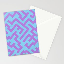 Lavender Violet and Baby Blue Diagonal Labyrinth Stationery Cards