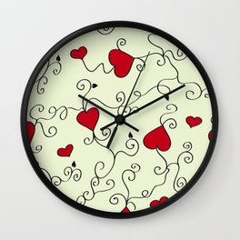 Valentine's Day Red Hearts Wall Clock