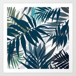 Shadow palm tree leaves Art Print