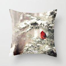 View the snowfall, Cardinal Throw Pillow