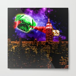 Pugs are so lazy eyed, They make great alien invaders Metal Print