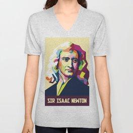 Sir Isaac Newton In Pop Art Portrait Unisex V-Neck