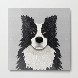 Black Border Collie Metal Print