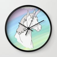 penis Wall Clocks featuring Unicorn, Penis horn by Bluh