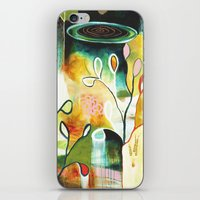 """flora bowley iPhone & iPod Skins featuring """"Deep Growth"""" Original Painting by Flora Bowley by Flora Bowley"""