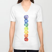 om V-neck T-shirts featuring OM by Sara Eshak