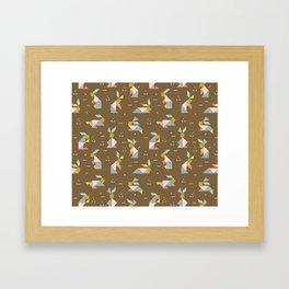Tangram Bunnies M+M Nutmeg by Friztin Framed Art Print
