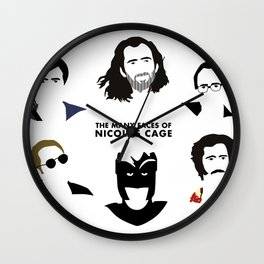 Many Faces of Nicolas Cage Wall Clock