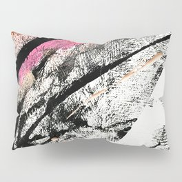 Motivation: a colorful, vibrant abstract piece in pink red, gold, black and white Pillow Sham