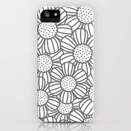 Field of daisies - gray iPhone Case
