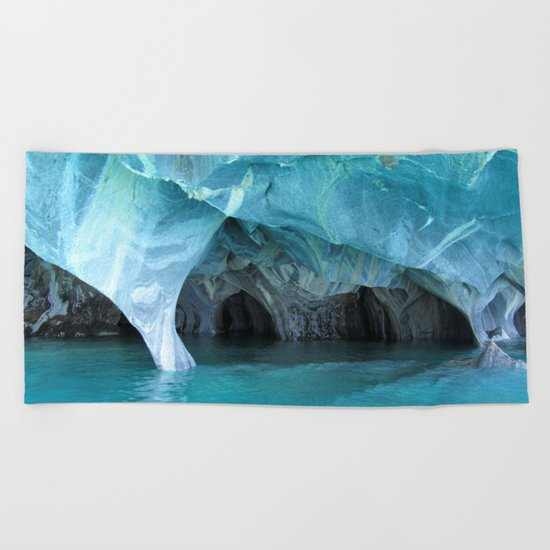 Marble blue 3 Beach Towel