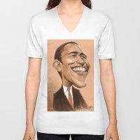 obama V-neck T-shirts featuring Borack Obama by Lars-Erik Robinson