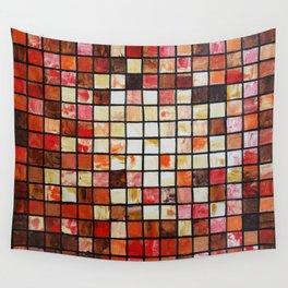 Mosaic red abstract painting by Ksavera Wall Tapestry