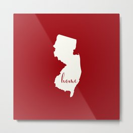New Jersey is Home - White on Red Metal Print