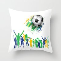 world cup Throw Pillows featuring World Cup Fever by Robin Curtiss