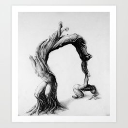 Tree people figure stretching reaching olive tree Art Print