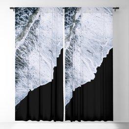 Waves crashing on a black sand beach – minimalist Landscape Photography Blackout Curtain