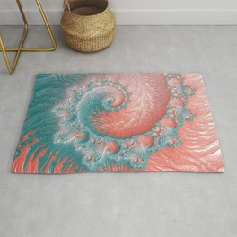 Living Coral Teal Blue Spiral Swirl Pattern Abstract Coral Reef Fractal Rug