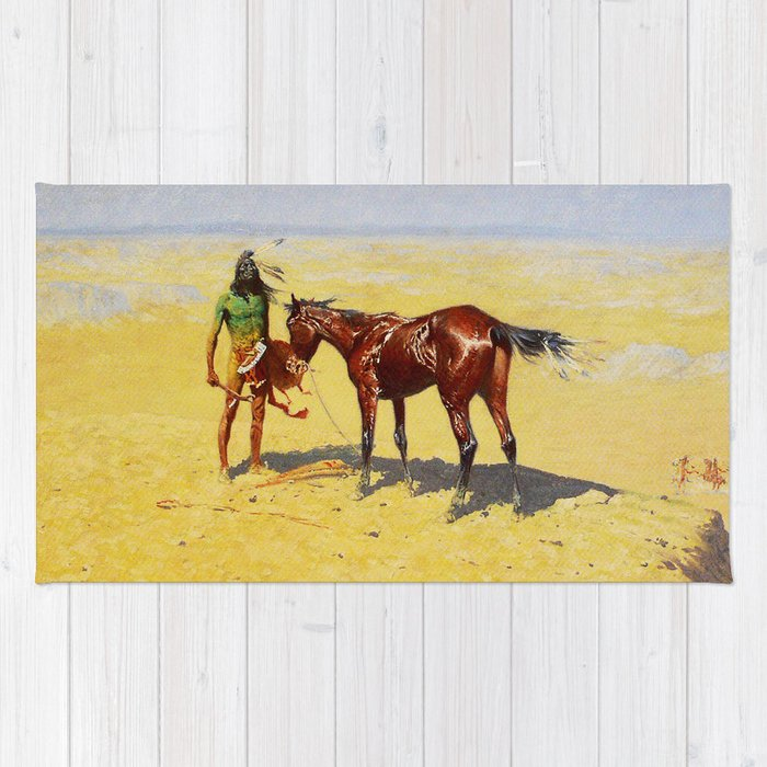 """Frédéric Gounongbe Wallpaper: Frederic Remington Western Art """"Hunted Down"""" Rug By"""