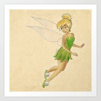 tinker bell Art Prints featuring Tinker bell by Joan Pons