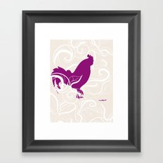 Farm Poster #2 - Rooster & Worm Framed Art Print