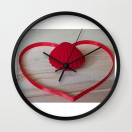 heart shape made of red ribbon, red jewelry box in the middle on a light wooden background, Valentine's Day, greeting card, love concept, Engagement, love Wall Clock