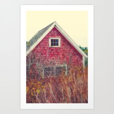 Red Coastal Cottage Art Print