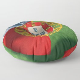 Beautiful Portuguese flag waving with the calm breeze on the ocean. Floor Pillow