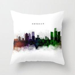 Detroit Watercolor Skyline Throw Pillow