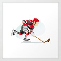 hockey Art Prints featuring Hockey by Dues Creatius