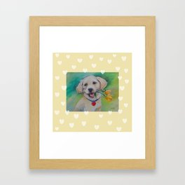 Yellow Valentine Cute puppy dog with hearts and flowers Framed Art Print