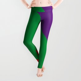 Important meeting of two halves of a nut; one is green, the other's purple. Leggings