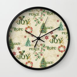 Christmas Love Joy Peace Collage Trees n Wreath Wall Clock