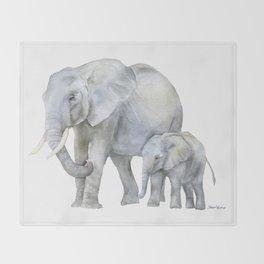 Mother and Baby Elephants Throw Blanket