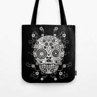 sugar skull Tote Bags featuring Sugar Skull by Farnell