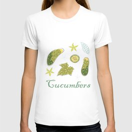 Cute Winter Icon with Cucumbers. Hand Drawn Scandinavian Style T-shirt