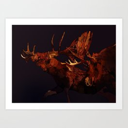 Duelling bull moose duo Art Print