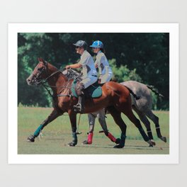 Cantering Polo Ponies Art Print