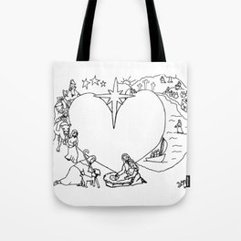 Wrapped in the arms of His love sketch Life of Christ Nativity to Resurrection Tote Bag