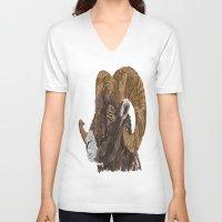 ram V-neck T-shirts featuring Ram by FractalFox