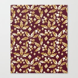 Christmas pattern.Gold sprigs on a dark Burgundy background. Canvas Print