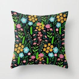 Pretty Blue Pink Garden Flowers Black Design Throw Pillow
