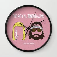 the royal tenenbaums Wall Clocks featuring The Royal Tenenbaums by gokce inan