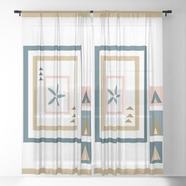 Abstract Medallion Quilt Art Sheer Curtain